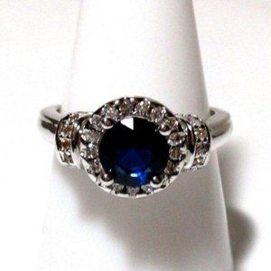 Ring Size 9 Simulated Diamond Sapphire 451